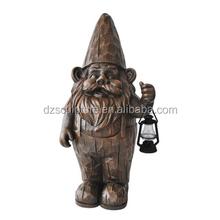 Bronze garden gnome statue lamp decoration