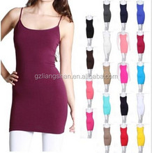 OEM Wholesale Custom Women Seamless Extra Long Solid Tunic Mini Dress Camisole Cami Plain White Jersey Stringer Tank Top