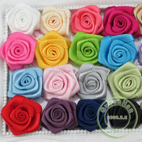 IN STOCK 0.85''-1'' Polyester Ribbon Rosettes Rose Flowers, Infant Boutique Hair Flowers Accessories