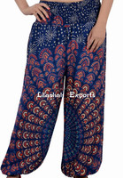 2628Rayon pantPrinted Harem Pants Supplier Vinatge Sari Patch Skirt Falds Dress Harem Pants Alibaba Trousers Vintage Saree Silk
