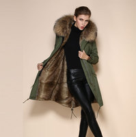 High quality fashion Natural color fur parka brown italian fur coats for lady