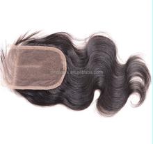 Alibaba Brazilian virgin remy lace closure bleached knots body wave 4*4 medium natural color lace closure