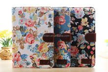 2014 high quality retro style flower print jean leather case for ipad mini 2