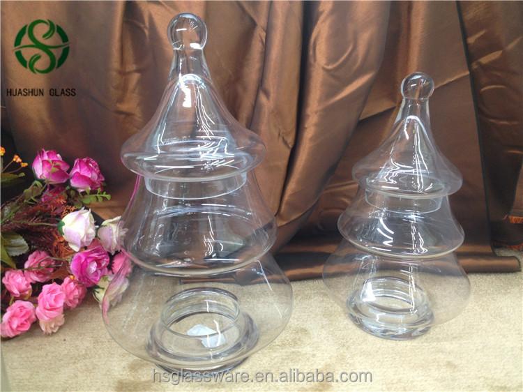 Huashun Custom Glassware Manufacturer Christmas Tree Shaped Candy Jar Glass - Buy Food Container ...