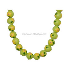 Easter hand painted glass beads, yellow flower painted beads wholesale B014