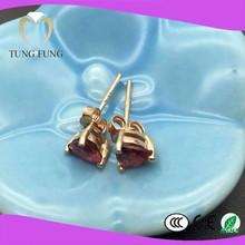 Factory supply 18K gold natural Tourmaline 5X5 tourmaline earrings