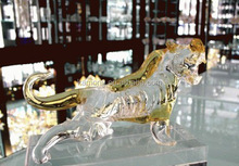 Excellent Crystal Running Tigers With Base Figurines For table decor