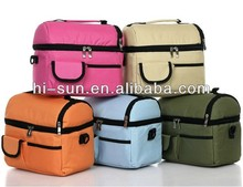 fashion 2 layer compartment tote cooler bags lunch bag