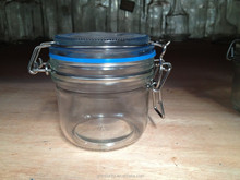 Wholsale 200ml clip glass jar & glass jar with metal clip and glass lid