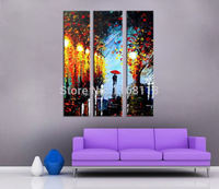 3 piece decorative art set modern wall art lovers walking in romantic night street hand painted Oil knife Painting on Canvas