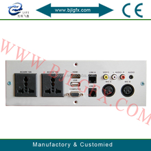 Hotel wall mounted shaver socket RJ45Data RJ11Tel RCA USB VGA XLR HDMI wall plate socket