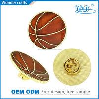 Latest modern popular basketball shape die casting iron material gold plating soft enamel sport metal badges