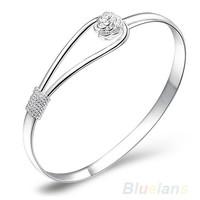 Новая мода ювелирные серебряные простой круг цветок розы манжеты браслет браслет 1nf3