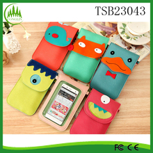 Cute Animals Universal Mobile Shoulder Bag Pouch Case With Neck Strap Leather Phone bag