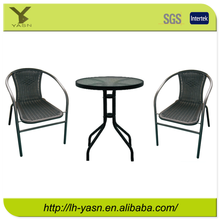 Promotional Steel Outdoor garden 3pc wicker / rattan patio set ,table KD, chair stackable