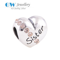 Newest European Style 925 Sterling Silver Round Charm Costume Jewellry Wholesale Joyas De Plata 925