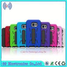 alibaba hot sale classic combo hybrid robot pc silicon kick stand cell phone case forfor samsung galaxy s6, mobile cover s6