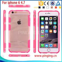 Fashion sport double color combo transparent phone case for iphone6 6plus