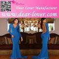 2015 longo mangas sereia vestido de noite azul vestidos de noiva