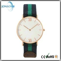 Nylon leather strap super thin custom brand quartz japan movement watch band leather silicone nylon