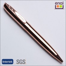 high class copper material metal ball pen with rose gold plating barrel and stylish special clip for LOGO imprinted