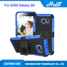 Shock proof hybrid case for samsung galaxy S6 with stand,3D phone case for samsung glaxy S6 case