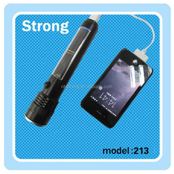 USB charger for mobile phone flashlight with solar power
