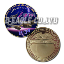 USAF P-38 Fighting Color Printed Gold Souvenir/ Custom Challenge Coin/ Custom Coin