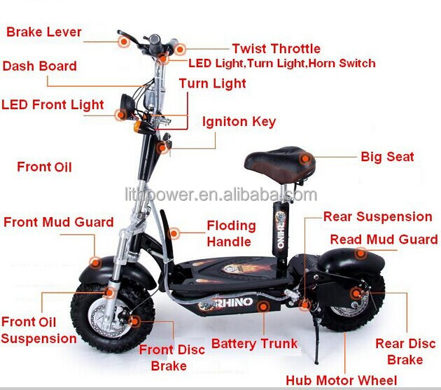 Slow Speed Electric Scooter With 350w High Power Motor For
