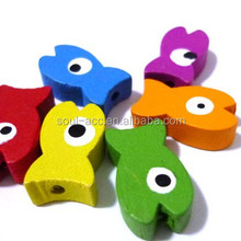 Fashion Animal Shaped Wooden Beads, Fish Shaped beads with Mixed Color