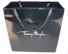 glossy black shiny satin ribbon gift bag