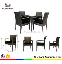 Comfortable cheap rattan glass top tables and chairs for restaurant and coffee shop