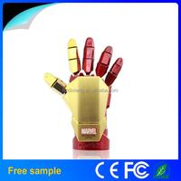 Pass H2testw Fashion Avengers Iron Man 3 hand LED Flash USB Flash Drive Stick Pen/Th for promotion Gift