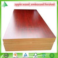 2015 New design China 4X8 wholesale apple wood emboss melamine mdf board