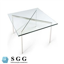 High Quality clear tempered glass table top, flat edge, beveled edge