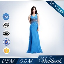 New Arrival One-shoulder Crystal Beaded Evening dress Latest Formal Dress Patterns