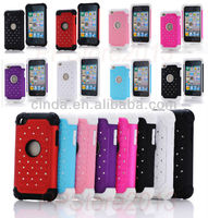 Heavy Duty Hybrid Bling Silicone Hard Dual Case Cover For iPod Touch 4 Gen TH