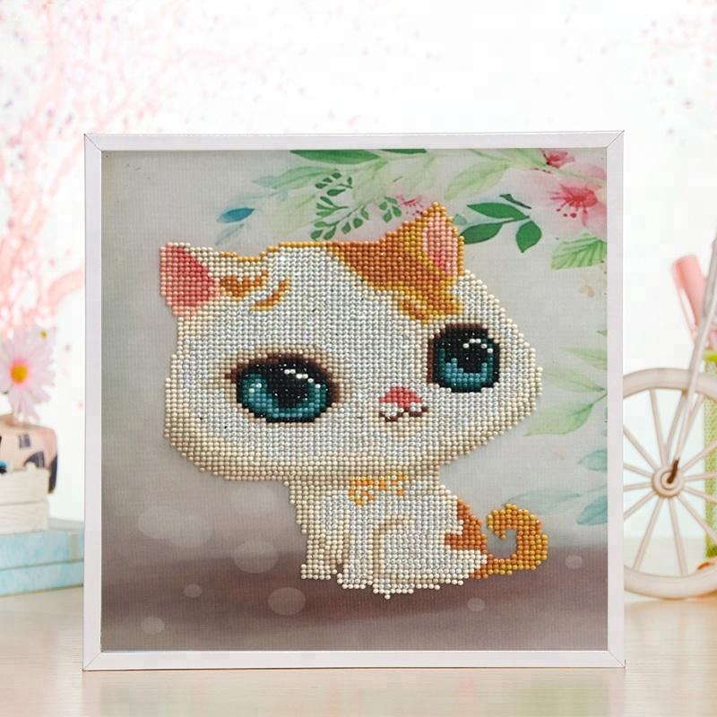 Mới nhất TỰ LÀM mini 3d canvas vẽ tranh đáng yêu xinxin nhựa mèo mini trắng khung sơn kim cương