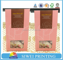 Biodegradable kraft paper bag with clear window for snack packaging