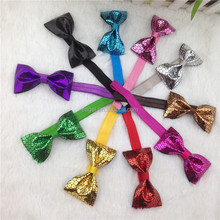 3.5inch sequin PU hair bow elastic hairband for baby girl leater hair bows headband for hair accessoires 10colors IN STOCK