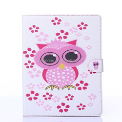 Printing owl flower leather wallet bag case For Apple iPad 2 3 4