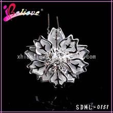 2015 Hot selling cheap hair accessories silver flower hair fork with diamond (SDML-0151)