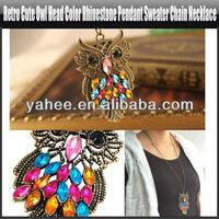 Fashion Retro Vintage Copper Plated Rhinestone Owl Pendant Necklace Attractive, YFA352A