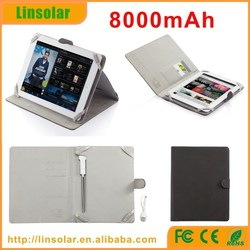 """For 9-10"""" ipad 2 3 4, pu leather flip cover tablet charger case 8000 mAh with charging cable"""
