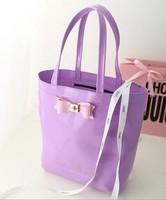 15127 Top Sale 2015 New Fashion Women Candy Color Bowknot Handbag WaterProof Messenger Bag Jelly Shoulder Bag