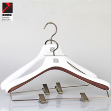 white rubber coated wooden hanger, pants hanger, suits hanger