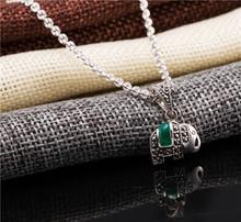 Custom hip hop jewelry 925 Sterling Silver Green Agate Pendant Elephant Shape 925 Silver Pendant