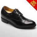 /negro marrón de cuero de piel de becerro aumentar la altura plantillas zapatos de vestir con ascensores para los hombres