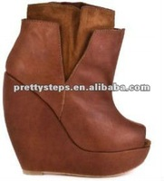 Pretty Steps latest design brown leather fashion women wedge China wholesale boots 2012