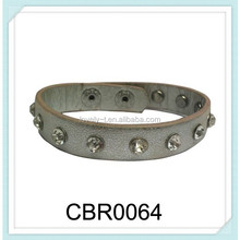 Fair narrow round plain style snap-fastner silver PU leather hand-made crystal bracelet